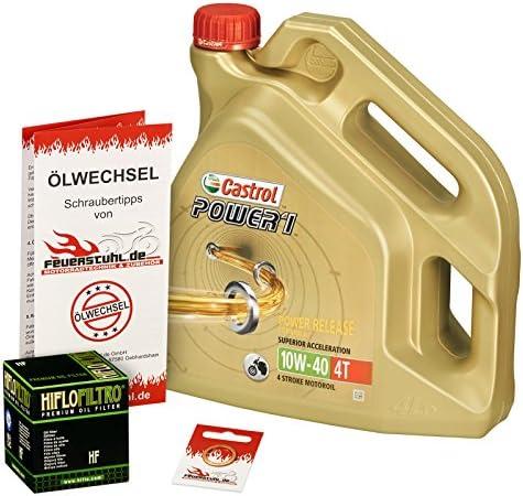 Castrol 10W-40 Öl + HiFlo Ölfilter für Kawasaki ZZR 1100, ZXT10C ZXT10D - Ölwechselset inkl. Motoröl, Filter, Dichtring