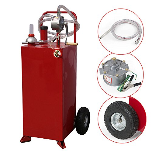 30 Gallon Gas Fuel Diesel Caddy Transfer Tank Container w/ Rotary Pump 8 FT Hose by BUY JOY