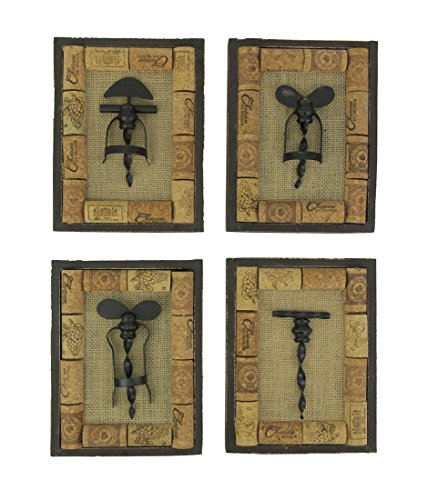 (Zeckos Wine Cork Decor Vintage Corkscrew Wall Hanging Set of 4)