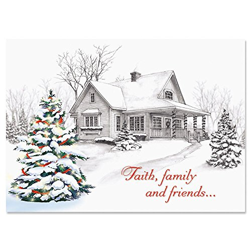Winter Home Religious Personalized Christmas Cards - Set of 18