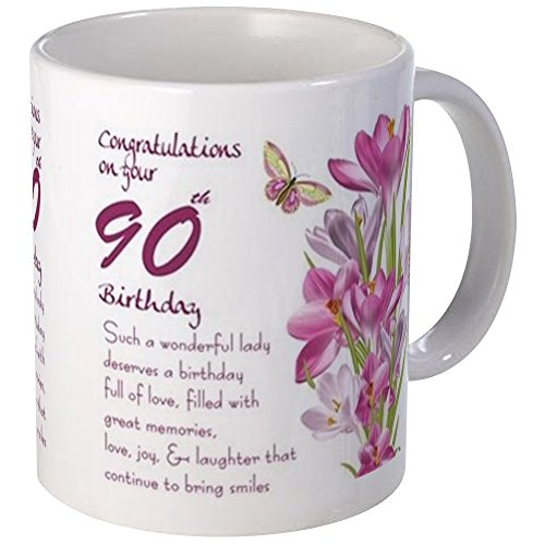 90th Birthday Coffee Mug with Flowers and Butterfly