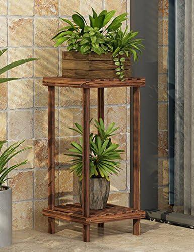 YYQIANG ヨーロッパ一輪の花はリビングルームバルコニーシンプルなソリッドウッドフラワーポット棚多層コーナーグリーンの植物はオプションのスタンドのサイズを表示スタンド (Size : 28*28*70CM)