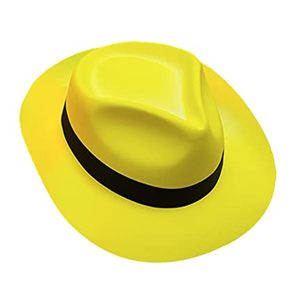 Sombrero gangster amarillo fluorescente adulto - Única  Amazon.es ... 3260a328d981