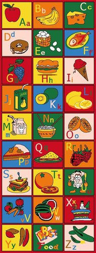 Kids / Baby Room / Daycare / Classroom / Playroom Area Rug. Alphabet Food. Educational. Fun. Non-Slip Gel Back. Bright Colorful Vibrant Colors (2 Feet X 7 Feet Runner)
