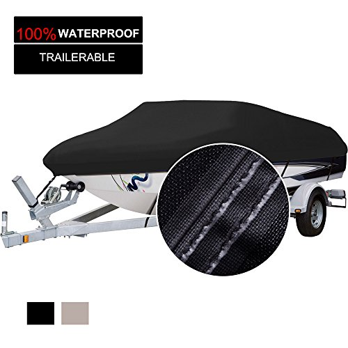 Polyester Heavy Duty Boat Cover - Waterproof Trailerable Boat Cover, Heavy Duty 600D Marine Grade Polyester Boat Cover, All Weather Protection, Fits V-Hull,Tri-Hull, Runabout Boat Cover (Fits 20'-22'L X 106