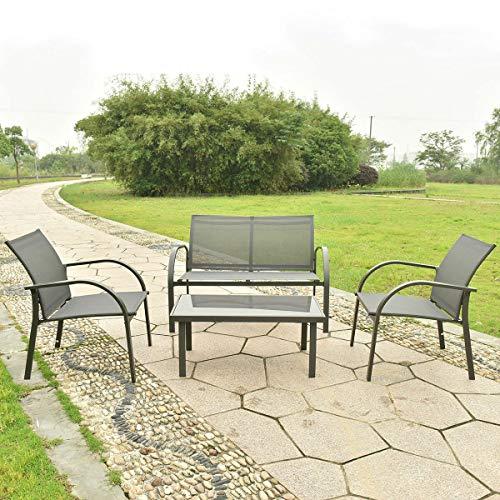 - AK Energy 4PC Gray Outdoor Patio Garden Lawn Furniture Set Sofa Textilene Chair Glass Coffee Table