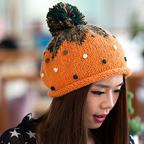 White otoño Gran de del Ola Bola Encantadora Boina Knit Frijol de Color Coreana Sombrero de Maozi ORANGE Invierno del y en AHpqYwpF