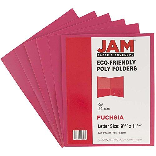 JAM PAPER Plastic 2 Pocket School POP Folders - Fuchsia Hot Pink - 6/pack by JAM Paper