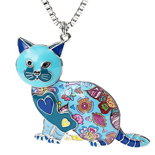 Valentine's Day Gifts Cute Cat Necklace Enamel Cartoon Cats Pendant Jewelry for Women Friends