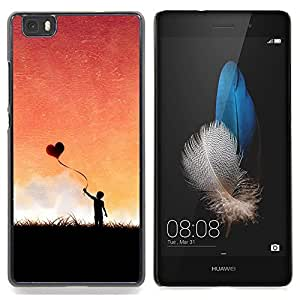 "Qstar Arte & diseño plástico duro Fundas Cover Cubre Hard Case Cover para Huawei Ascend P8 Lite (Not for Normal P8) (Globo del corazón del amor"")"