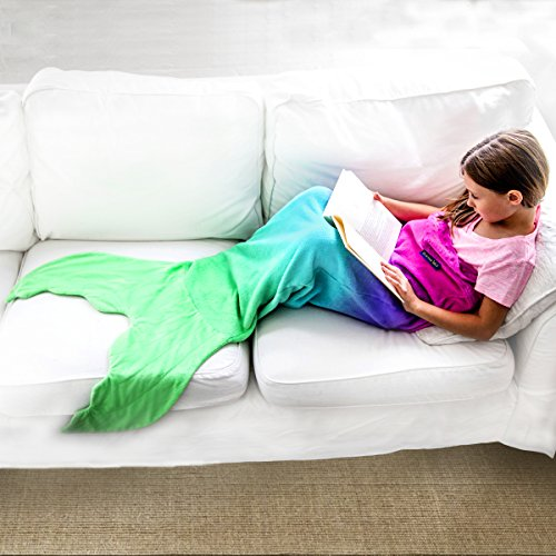 The Original Blankie Tails Mermaid Tail Blanket (Youth Size), pink/aqua
