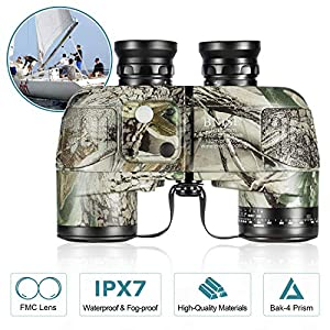 BNISE HD Binoculars – Navigation Compass and Rangefinder – 10×50 Large Object Lens BAK4 Large View – Waterproof and…