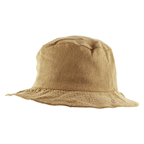 Plaid Cotton Boonie Fishing Hiking Beach Sun Packable Bucket Hat - Camel/Multi Black (Multi Plaid Reversible Hat)