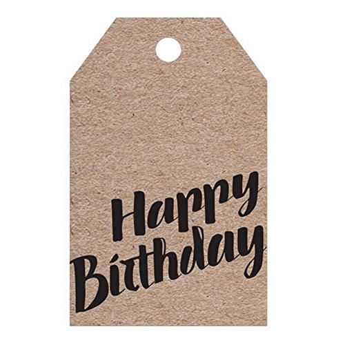 Kraft Happy Birthday Printed Gift Tag - 100 ()