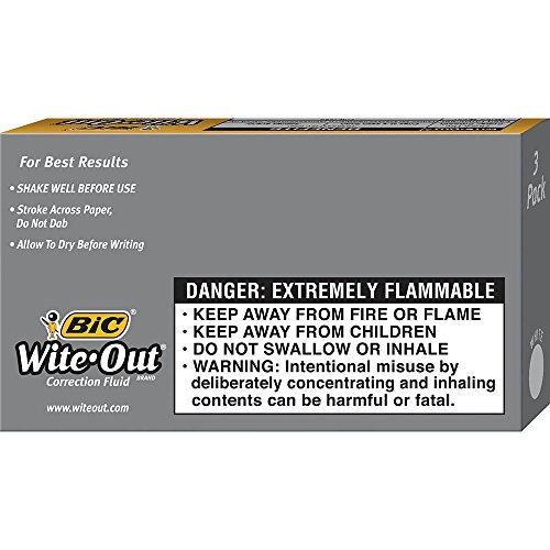 BIC Wite-Out Quick Dry Correction Fluid - 3 Pack (BICWOFQD324) by BIC (Image #4)
