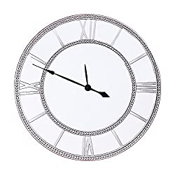 Jerry & Maggie - Large 22 Multi Function Wall Clock with Frame Mirror Background   Tower Shape Sculpture Frame Home Decor with Battery Compartment and Wall Mounting Design - Silver Color