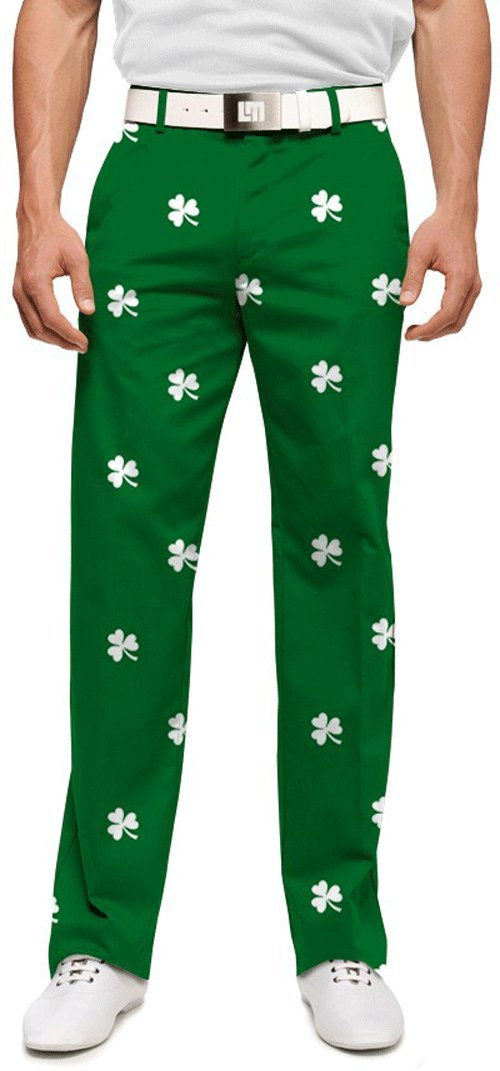 Loudmouth Golf Mens Pants: Embroidered White Shamrocks - Size 34x34