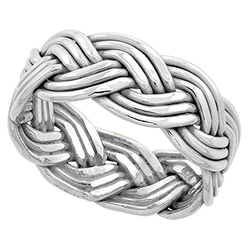 (Sterling Silver Wire Braided Ring Handmade 3/8 inch wide, size 7)