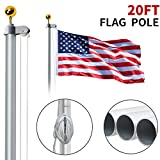 WeValor 20FT Sectional Flag Pole Kit, Extra Thick Heavy Duty Aluminum Outdoor In ground Flagpole with Free 3x5 Polyester...