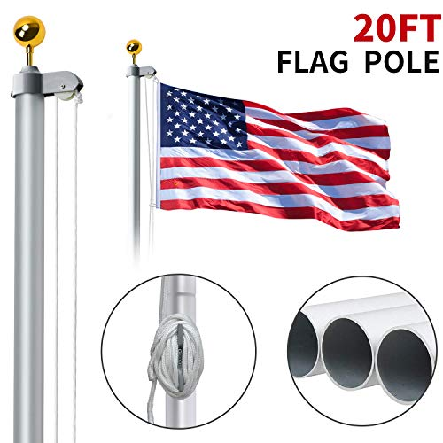 WeValor 20FT Sectional Flag Pole Kit, Extra Thick Heavy Duty Aluminum Outdoor In ground Flagpole with Free 3x5 Polyester American Flag and Golden Ball, for Residential or Commercial, Silver ()