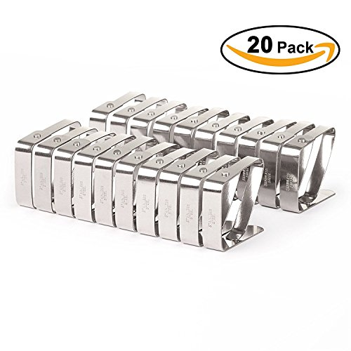 VEEYOO Set of 20 Adjustable Stainless Steel Tablecloth Clips Clamps Party Restaurant Picnic Outdoor Table Cloth Cover Holders, 1.97 x 1.57 inches, Silver