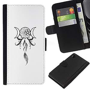 LECELL--Cuero de la tarjeta la carpeta del tirón Smartphone Slots Protección Holder For Sony Xperia Z2 D6502 -- Estrella de la Muerte Pentagram Dreamcatcher --
