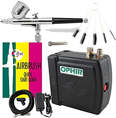 OPHIR Portable Mini Airbrush Air Compressor Kit Dual Action Airbrush Set with Cleaning Brush Tool Adjustable Air Brush Spray Gun for Hobby Model Crafts ...