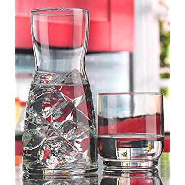 Palais Glass Carafe Set - Bedside Night Carafe 17 Oz with Tumbler Glass 10 Oz