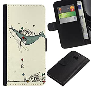 ARTCO Cases - HTC One M8 - Cute Whale and Balloon Cartoon Illustration - Slim PU Leather Wallet Credit Card Case Cover Shell Armor
