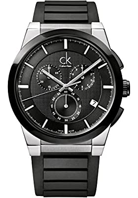 Calvin Klein Men's Black Dial Black Rubber