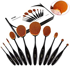 Makeup Brush Set 10 Pieces Spaire Professional Oval Makeup Brushes with Super Soft Dense Bristles 90 Degree Bending Grip Refined Gift Box