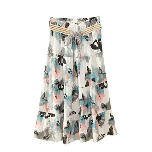 Longue Floral Haute lgant t Style Skirts 5 Jupe Taille ZKOOO Lache Bohme Mi Imprim Plage Jupes Rtro de Femmes qatpw0
