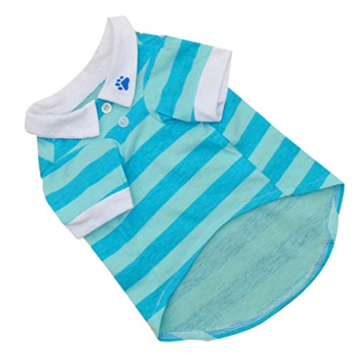 Image of Binmer(TM) New Cute Dog T-Shirt Clothes Lapel Stripe Cotton Puppy Pet Dog Clothes Summer Spring Hot (L, Sky Blue)