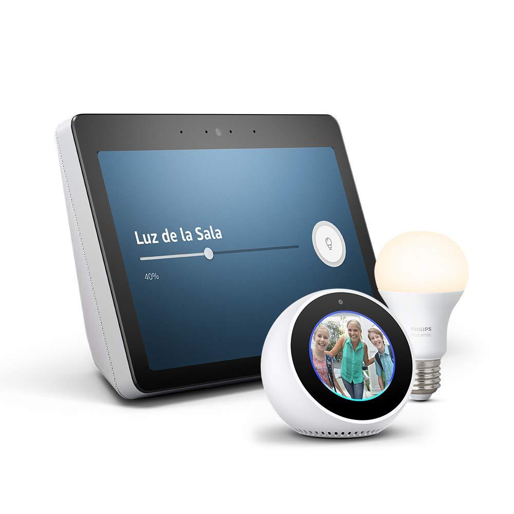 ª generación) - Sonido de alta calidad y sensacional pantalla HD de 10 pulgadas, blanco + Bombilla Philips Hue White LED E27 + Echo Spot, blanco: Amazon.es