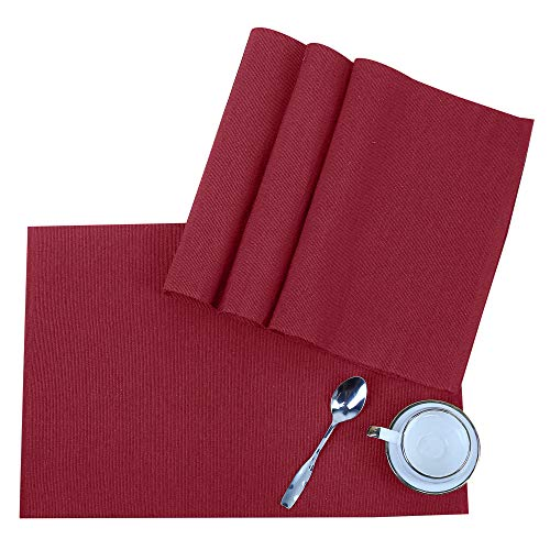RAJRANG BRINGING RAJASTHAN TO YOU Rectangular Dining Placemat – Cotton Place Mat for Kitchen Dinner Table – Set of 4 – Wine Red – 19 X 13 Inches