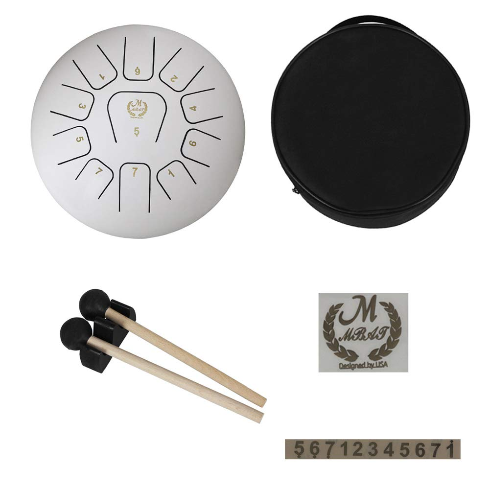 PinShang 12 Inch Tongue Drum 11 Notes Steel Pan Drum Professional Percussion Drum (with Paper Box Drum Package + Drum Stick + Scale) White 12 Inches
