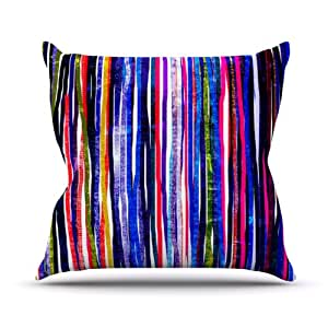 """Kess InHouse Frederic Levy-Hadida """"Fancy Stripes Purple"""" Outdoor Throw Pillow, 18 by 18-Inch"""