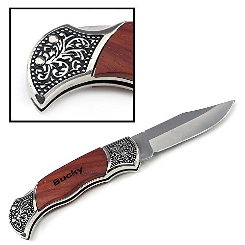 Personalized Rosewood Handle Pocket Folding Knife with 2 Lines of Engraving - Wedding Groomsmen Gift - Custom Monogrammed and Engraved for Free