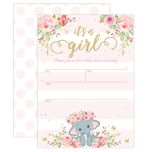 Elephant Baby Shower Invitation, Girl Pink Elephant Baby Shower, Jungle Baby Girl Shower Invite, It's a Girl, Baby Sprinkle Invite, 20 Fill in Invitations and Envelopes -