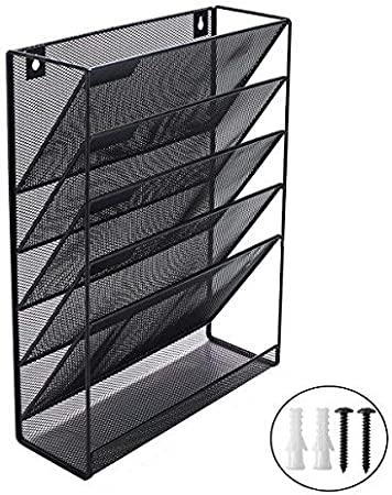 EasyPAG 5 Tier Wall File Holder Hanging Mail Organizer Meta Wall Mount Magazine Rack for Home and Office,Black