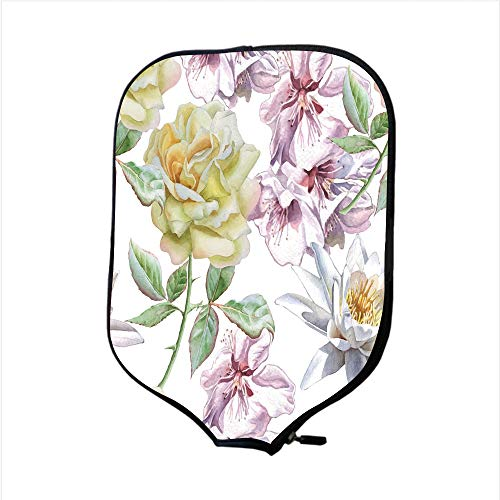 iPrint Neoprene Pickleball Paddle Racket Cover Case,Floral,Rose Petals Sakura Lily Flowers Blooms Romance Florets Design,Light Pink Yellow Fern Green,Fit for Most Rackets - Protect Your Paddle (Petal Flower Design Knob)