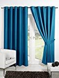 CHome HOMEC Elegant Blackout Multi Eyelet Long Door Curtain Set Of 2-48 X 108 Inch In Blue For Sale