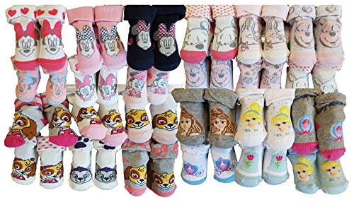 (Baby Socks Licence in cotton: Mickey, Paw Patrol,Spiderman, Star wars.Assortments models photos according to arrivals (6/12 months, Pack of 12 Surprise for Girls))