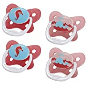 Dr. Brown's PreVent Contour Pacifier, Stage 1 (0-6m), Polka Dots Pink, 4-Pack