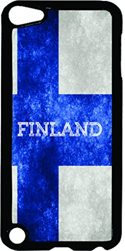 Finland Grunge Flag-TM Apple iPod 5 Black Plastic Case Made in the (Finland Ribbons)
