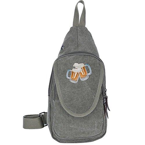 Beer Sport Cycling Camping Canvas Chest Pack Sling Hiking Shoulder Crossbody Backpack Rucksack Bag