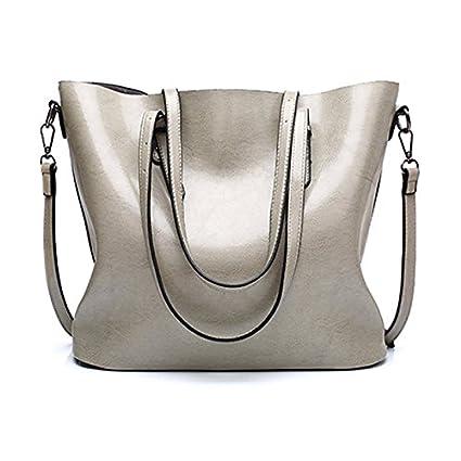 11e35b0e5e0c Amazon.com  2018 New Fashion Women Pu Leather Handbags Lady Large Tote Bag  Female Shoulder Bags (Grey Color)  Everything Else
