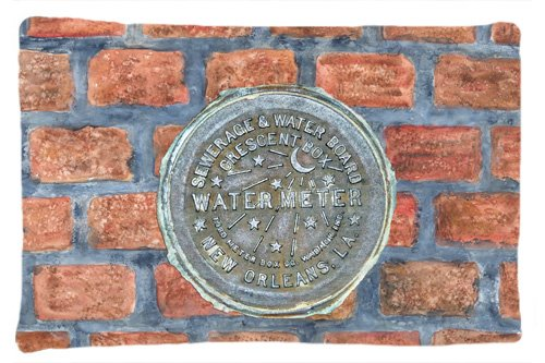Carolines Treasures 8829PILLOWCASE New Orleans Watermeter on Bricks Moisture Wicking Fabric Standard Pillowcase Multicolor Standard