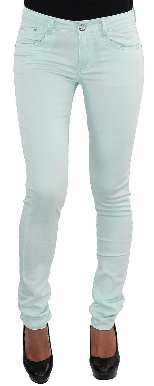 jeansDamen Hüft Hüfthose Röhre Röhrenhose Stretchhose Stretch Stoff Gelb KK516