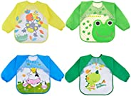 Sleeve Bibs, Aniwon 4Pcs Baby Bibs Cute Animal Food Waterproof Bibs with Sleeves for 1-5 Years Old Infant Todd